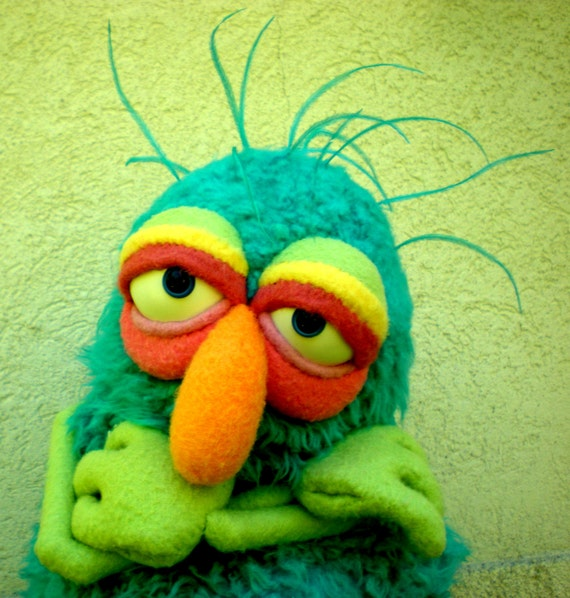 Blue Furry Monster Muppet Style Hand Puppet