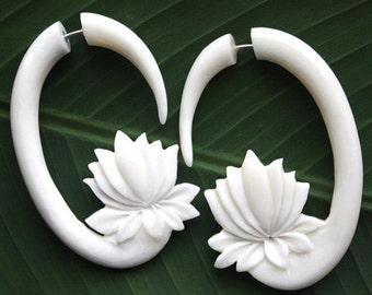 PADMA Lotus Earrings - Natural White Bone - Organic Hand Carved Fake Gauge