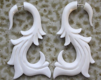 TANIS Fake Gauge Earrings - Hand Carved Tribal Jewelry - Organic White Bone