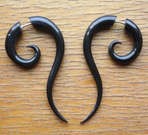 TALEEYA Fake Gauge Earrings - Hand Carved Natural Black Horn
