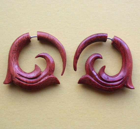 WAVE Tribal Earrings - Hand Carved Fake Gauges - Natural Red Blood Wood Hoops