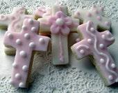 Cross Sugar Cookies - Pink and White - Mini Bites - 3 Dozen Mini Cookies