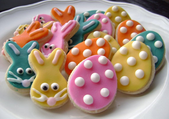 Easter Egg and Bunny Sugar Cookies with Polka Dots - Mini Bites