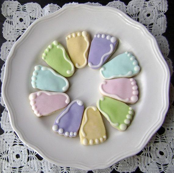 baby feet sugar cookies pastel mini bites. Black Bedroom Furniture Sets. Home Design Ideas