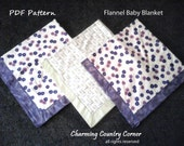 PDF Pattern for Flannel Receiving Blanket with Self-Binding & Mitered Corners (501)
