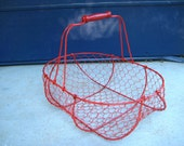 Red Wire Basket Wood Handle