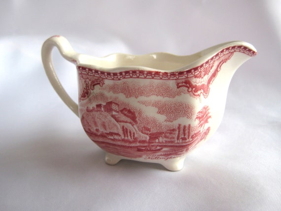 Vintage English Creamer Red/Pink Transferware