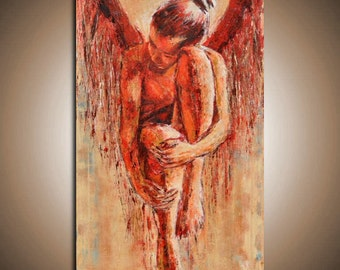 "Fallen Angel II - HUGE ANGEL painting - Original unique contemporary red Angel painting  - 19,7"" x 39,4"""