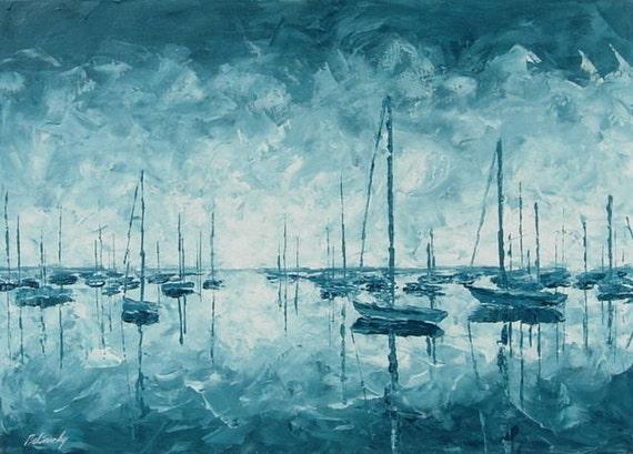 """Landscape painting - Original unique blue, turquoise harbour painting - Seascape painting with ships- Ready to Hang -19,7"""" x 27,6"""""""