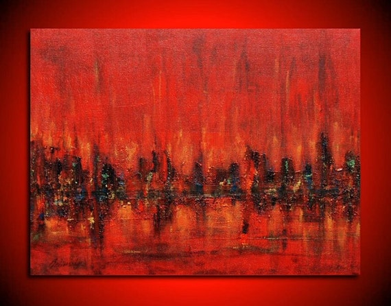 Red city - Original contemporary red, black abstract painting - Wonderfully textured red painting  - Ready to hang