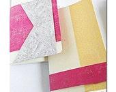 Mini notebooks w repurposed minimal color block paper design