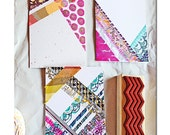 Hand drawn abstract patterns on folded notecards