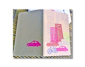 Hand stamped w cityscape theme moleskin Pocket notebooks