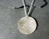 Disc Pendant in Hammered Sterling Silver