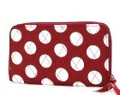 SALE- Crimson Red and White Polka Dot Personalized Zippered Wallet