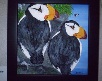 Original Puffin Painting - Puffins at Puddie-Paw Point