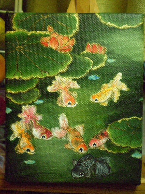 Chinese Goldfish in Pond with Lotus - miniature