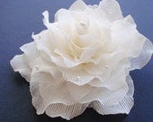 White fabric flower brooch - accessory for clothes, hair or anywhere.