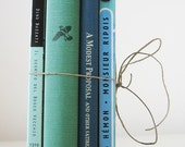 Green Blue Instant Library Collection - 4 vintage books, old, teal, mint, moss, light aqua, sage, book set, home decor, interior design