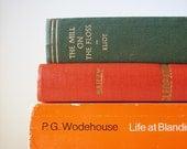 Orange Green Instant Library Collection - 3 vintage books, old, worldy, bookshelf, spring home decor, George Eliot, boho, interior design