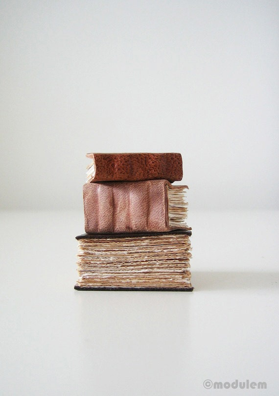 Miniature Library Collection, 3 handmade leather books, classic decor, quirky, book art, dark brown, bohemian decor, one of a kind, 1x1