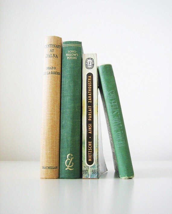 Green Yellow Instant Library Collection - 4 vintage books, pale light green, beige, book set, home decor, B&B interior design, old