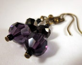 Uber Sparkly Dangle Earrings on Gunmetal Earwires - Faceted Black and Purple Crystal