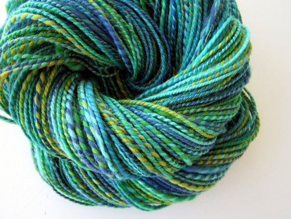 Handspun Yarn Merino -  Teal blue, Turquoise and Yellow - Caribbean Water
