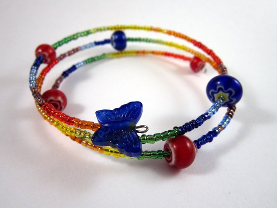 Rainbow Glass Beaded Bangle Bracelet Large Adjustable Size with Blue Butterfly