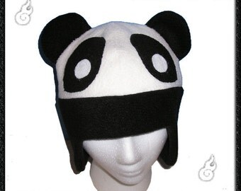 Aviator Panda Hat - Fleece Anime Black White Earflaps Ears Animal Cosplay Bear Cute Kawaii Clothing