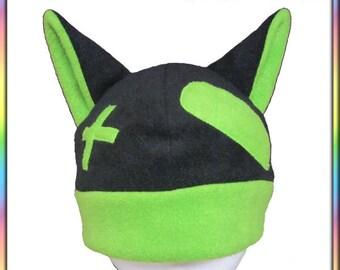 Boo-Boo Kitty Hat - Black Green  Antipill Fleece Adult Teen Child Anime Rave Dance Emo Geek Kawaii Cute Cosplay Neko Cat Ears Beanie