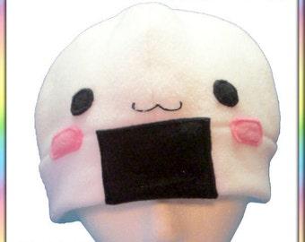 Blushy Onigiri Beanie - Fleece Hat White Black Rice Ball Anime Cute Kawaii Cosplay Chibi Hat (Adult Teen Kid Sizes)