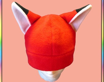 Red Fox Hat - Fleece White Black Kitsune Anime Otaku Cute Kawaii Animal Ears (Adult, Teen, Kid Sizes)