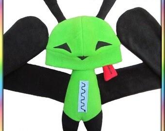 Invader Zim Gir Plushie Hat - Green Black Fleece Irken Alien Face Ears Neck Cosplay Plush Animal Scarf Adult Kid Sizes