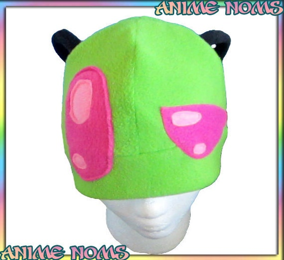 Invader Zim Hat - Fleece Anime Green Pink Alien Cartoon Cute Ears Eyes Planet Irk Evil Cosplay Clothing Adult Teen Child Chibi