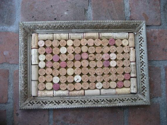 upcycled wine cork corkboard or trivet with victorian style frame