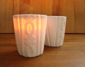 sweater candle holder in white with unscented candle, set of two