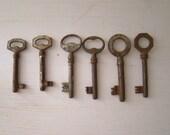 antique skeleton keys, lot of six