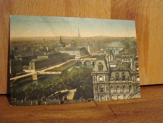 antique paris panoramic postcard date stamped 1925 color