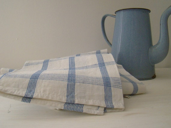 reserved for P -  french kitchen towels, vintage linens with blue grid stripes