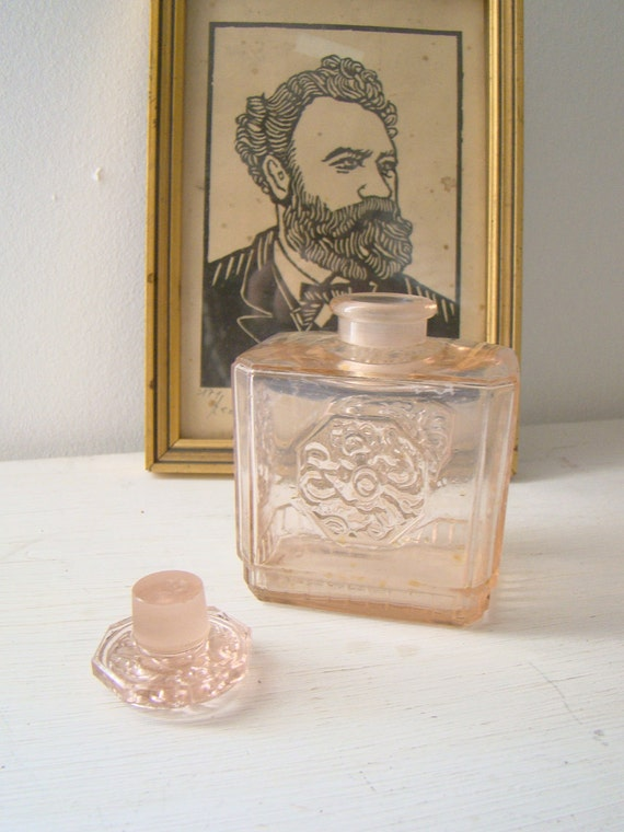 vintage french square rose perfume bottle with lid