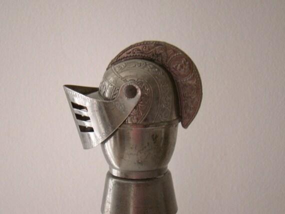 vintage wine stopper / pourer in white metal knight helmet