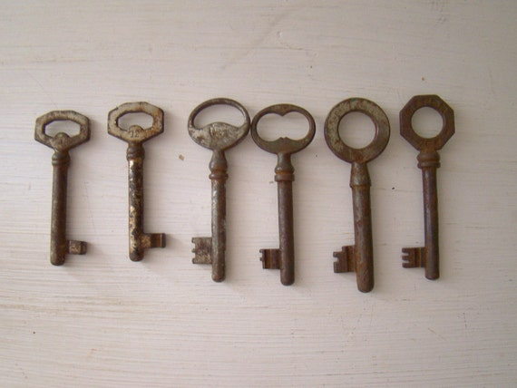antique skeleton keys, lot of six