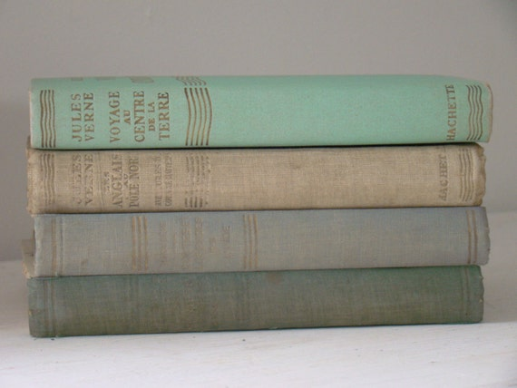 antique french books bundle in faded pastels