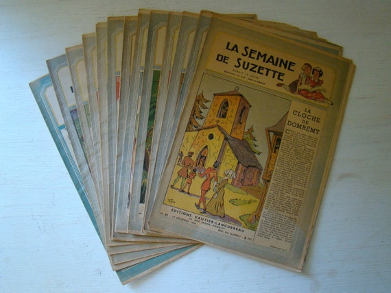 french magazine for girls, collection of 13 magazines from the 1940s