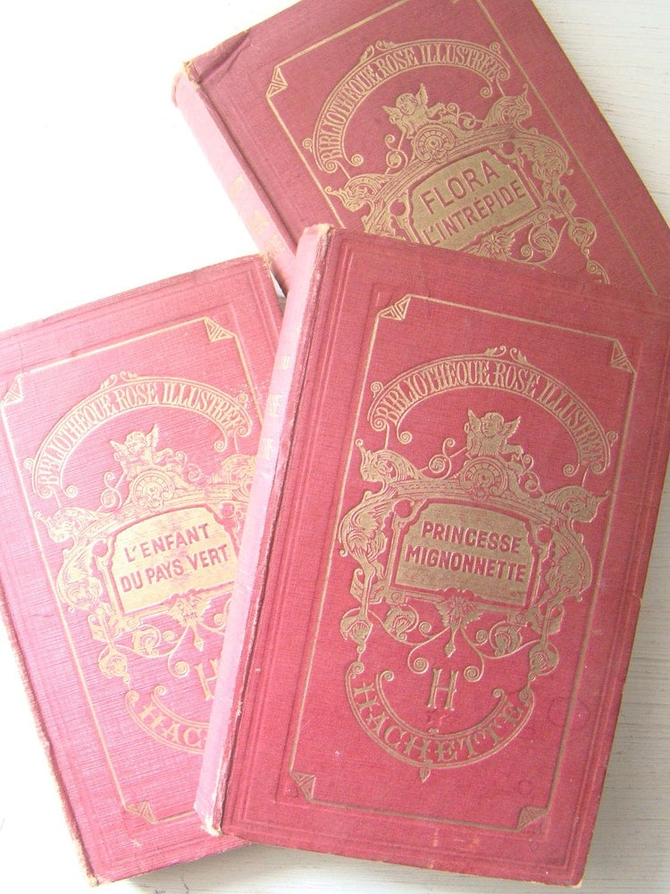 Antique French Books Set Of Three In Red By