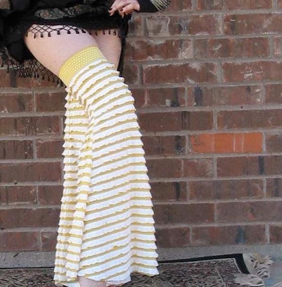 Lucky Lemon Swirl & Gum Drops - Gypset Gaiters - Flared Ruffled Leggies - Hoop Dance - Tribal Belly Dance - Leg Warmers