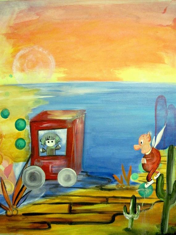Original Acrylic Painting Illustration The Dolly Dock Wagon