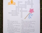 Custom Baby Shower Crossword Puzzle - Princess Theme - Perfect for a baby shower or for a mother-to-be