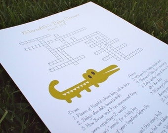 Custom Baby Shower Crossword Puzzle - Alligator - Perfect for a baby shower or for a mother-to-be